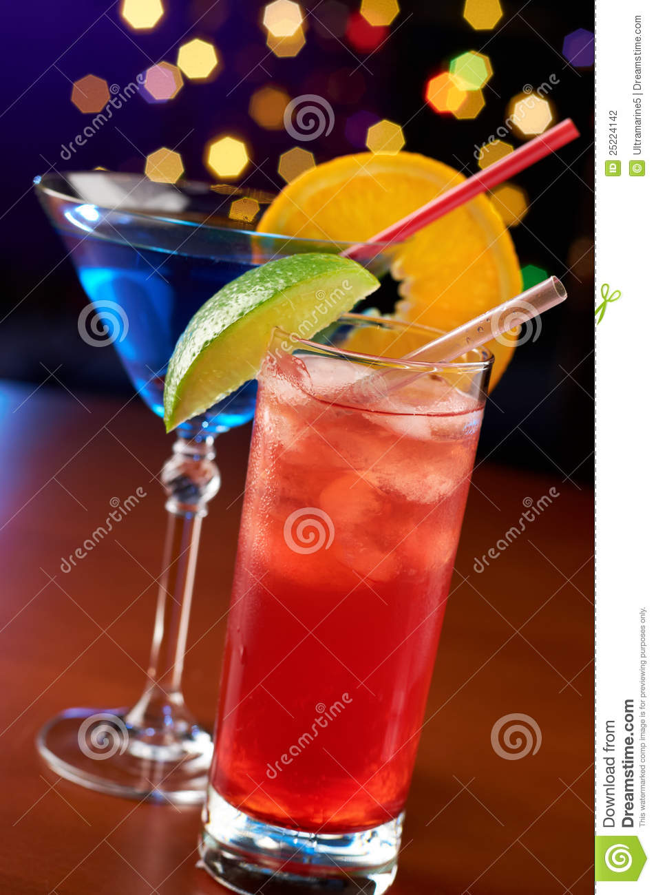 Two colorful cocktails