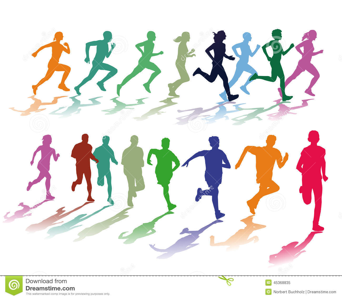 Two Colorful Groups Of Runners Stock Vector - Illustration ...