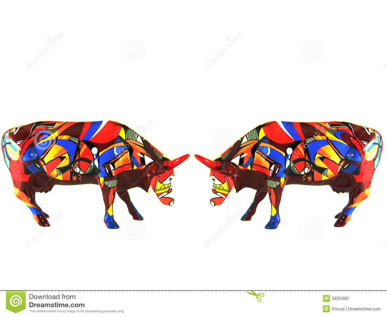 Two Colorful Small Porcelain Cows Stock Photography - Image: 5832482