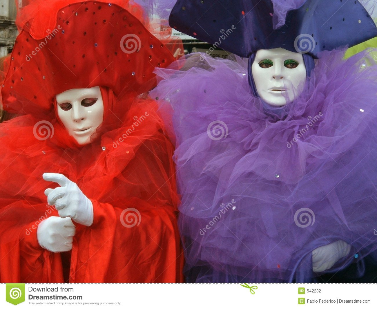 Two coloured masks in Venice
