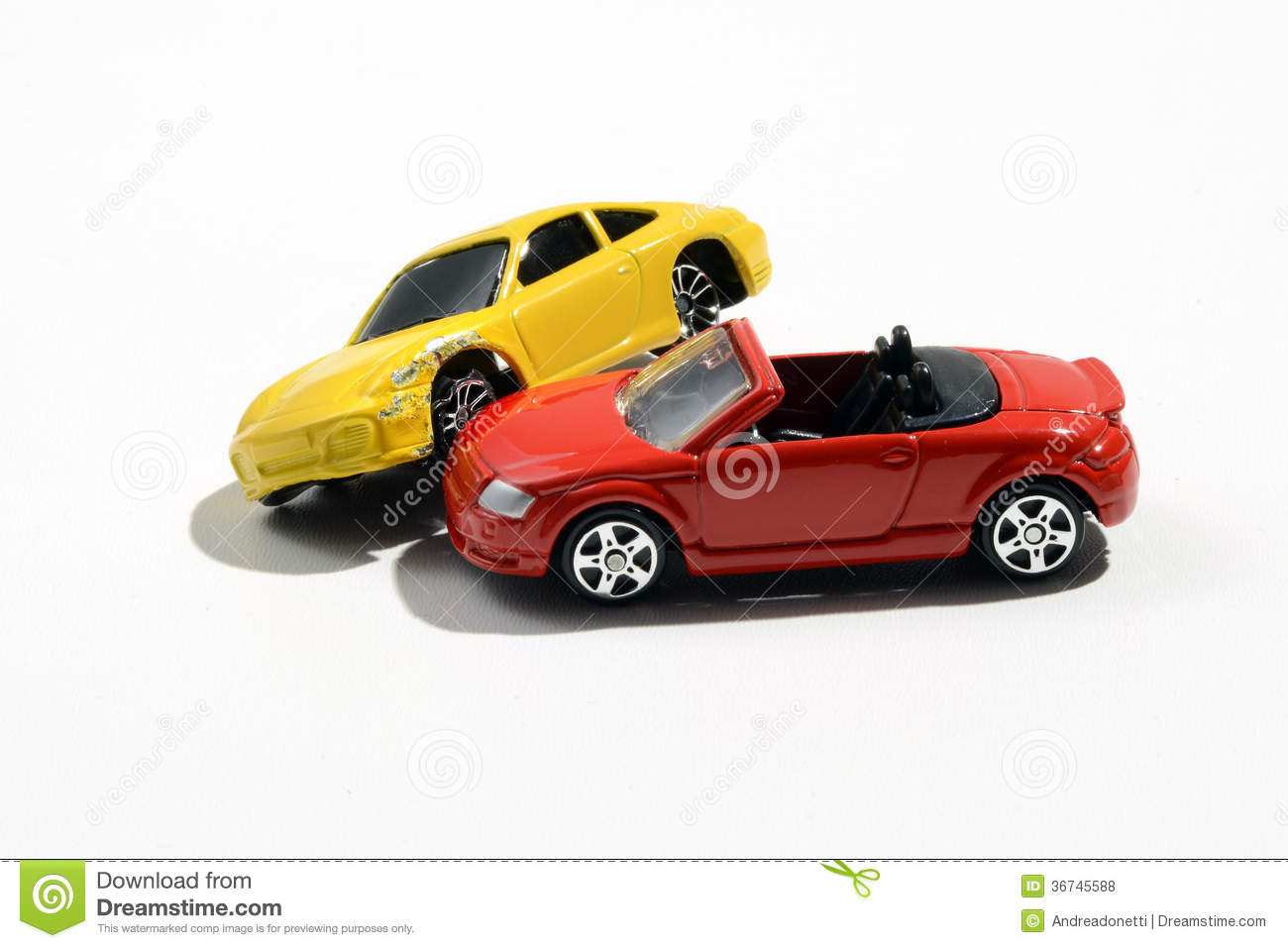 Toy Model Gallery : Two colourful metal toy model cars royalty free stock
