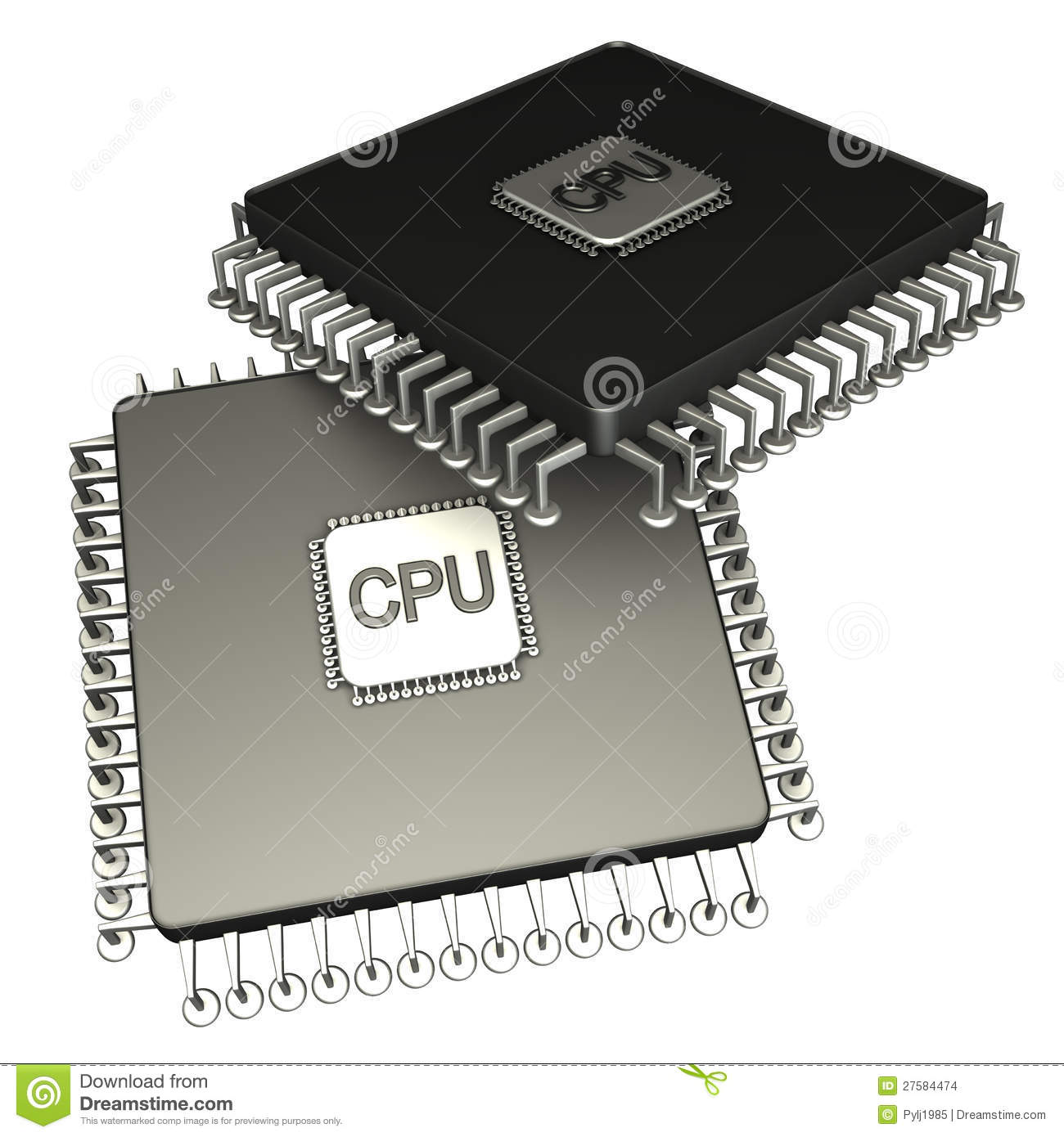 Two Computer Chip Processor. Icon 3D. Isolated Stock