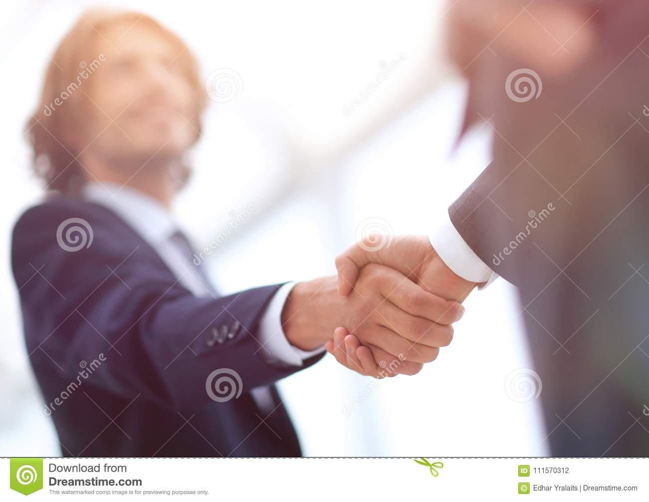 Two Businessman Shaking Hands Greeting Each Other Stock Photo