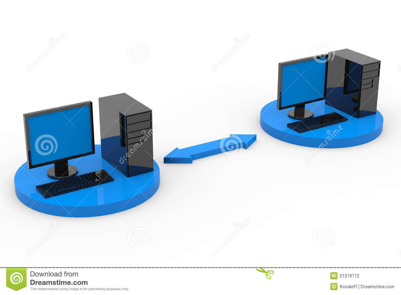 Computer Connected By 2 People : Two connected computers stock illustration image of