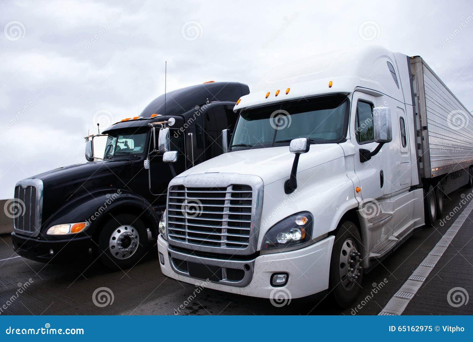 black and white semi truck vector illustration blue semi truck clipart Front View Semi Truck Clip Art