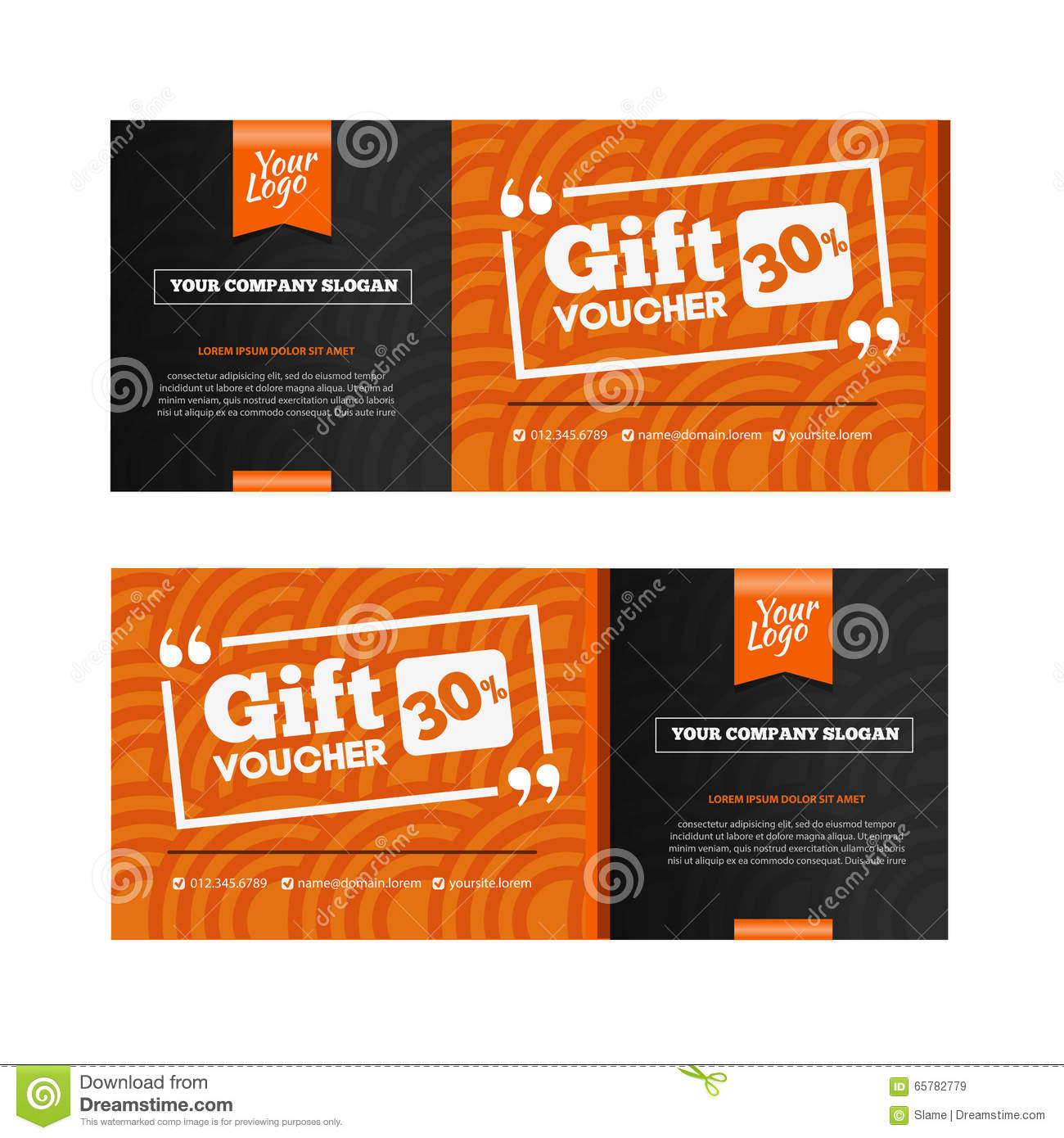 Two Coupon Voucher Design. Gift Voucher Template With Amount Of  Lunch Voucher Template