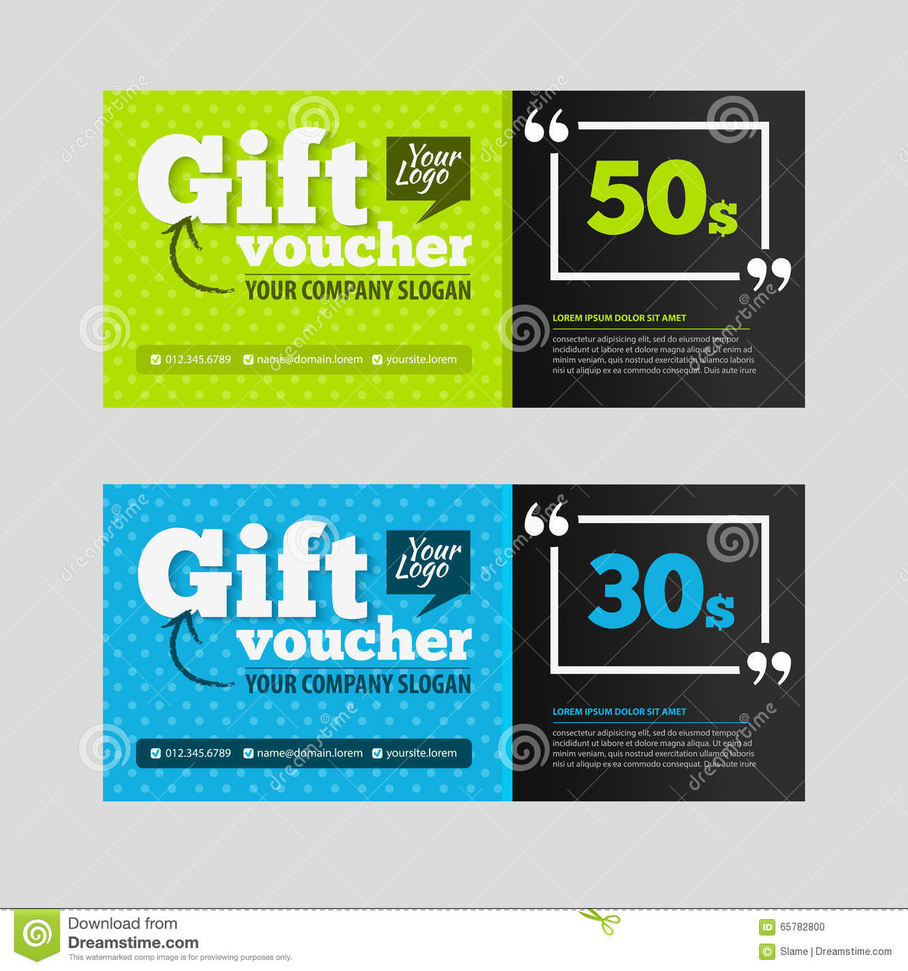 Two coupon voucher design gift template with