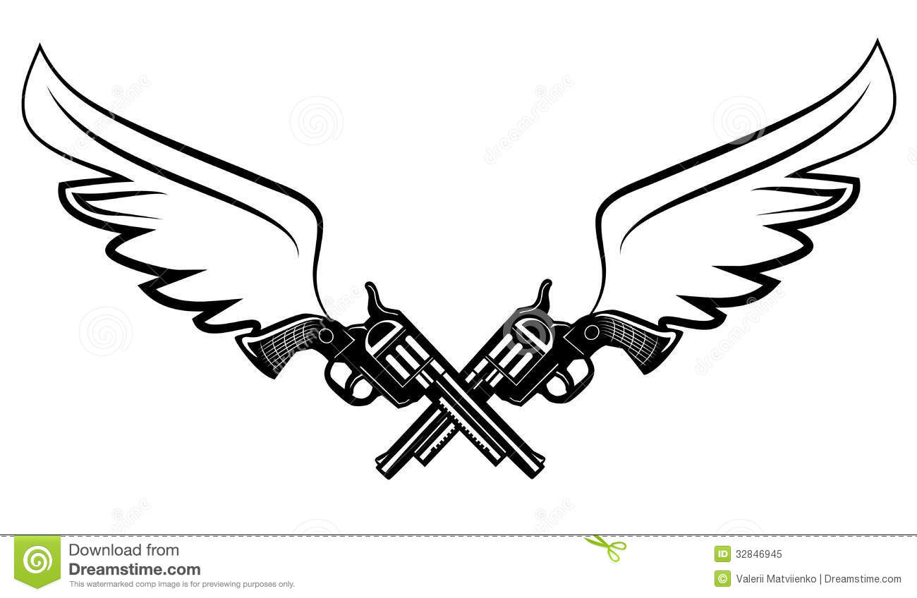 Two cowboy revolver guns stock vector. Image of criminal ...