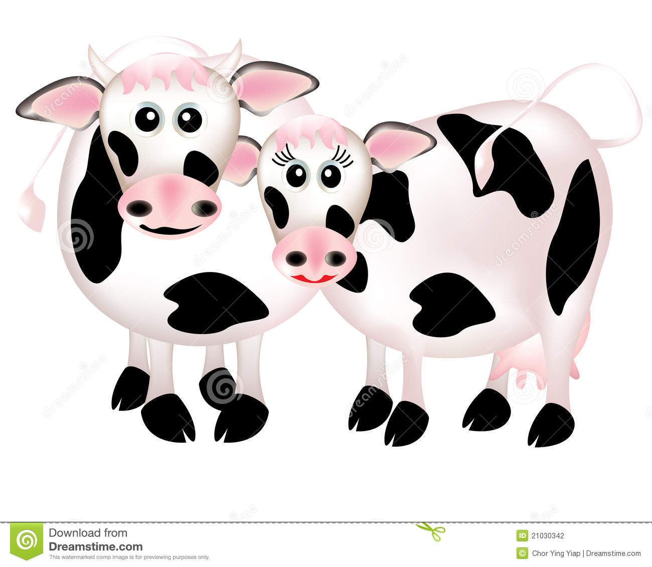 Two cows in love, cartoon stock vector. Image of domestic ...