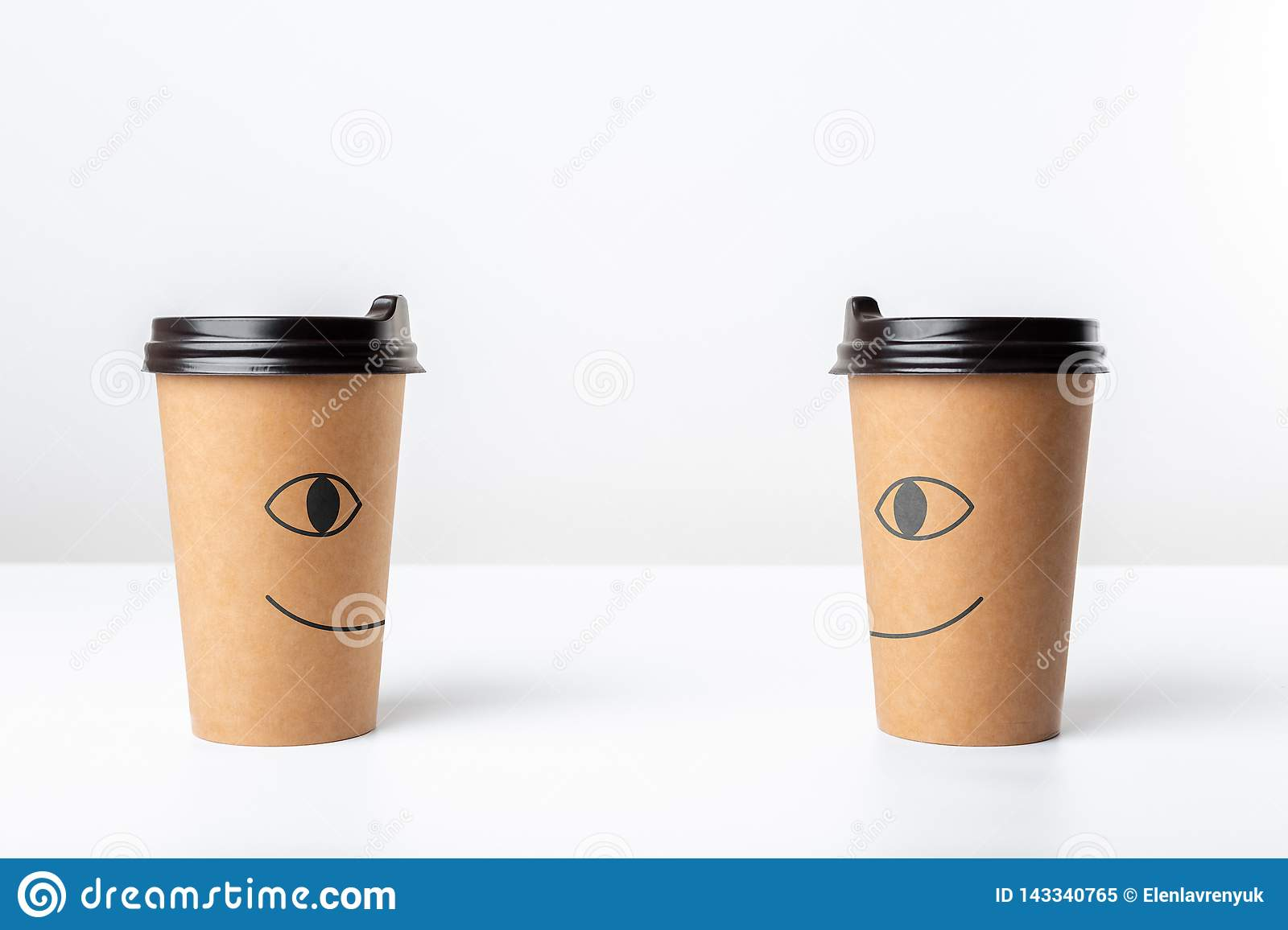 a6010b19ec2 Happy Craft Coffee Cups On White Background Stock Image - Image of ...