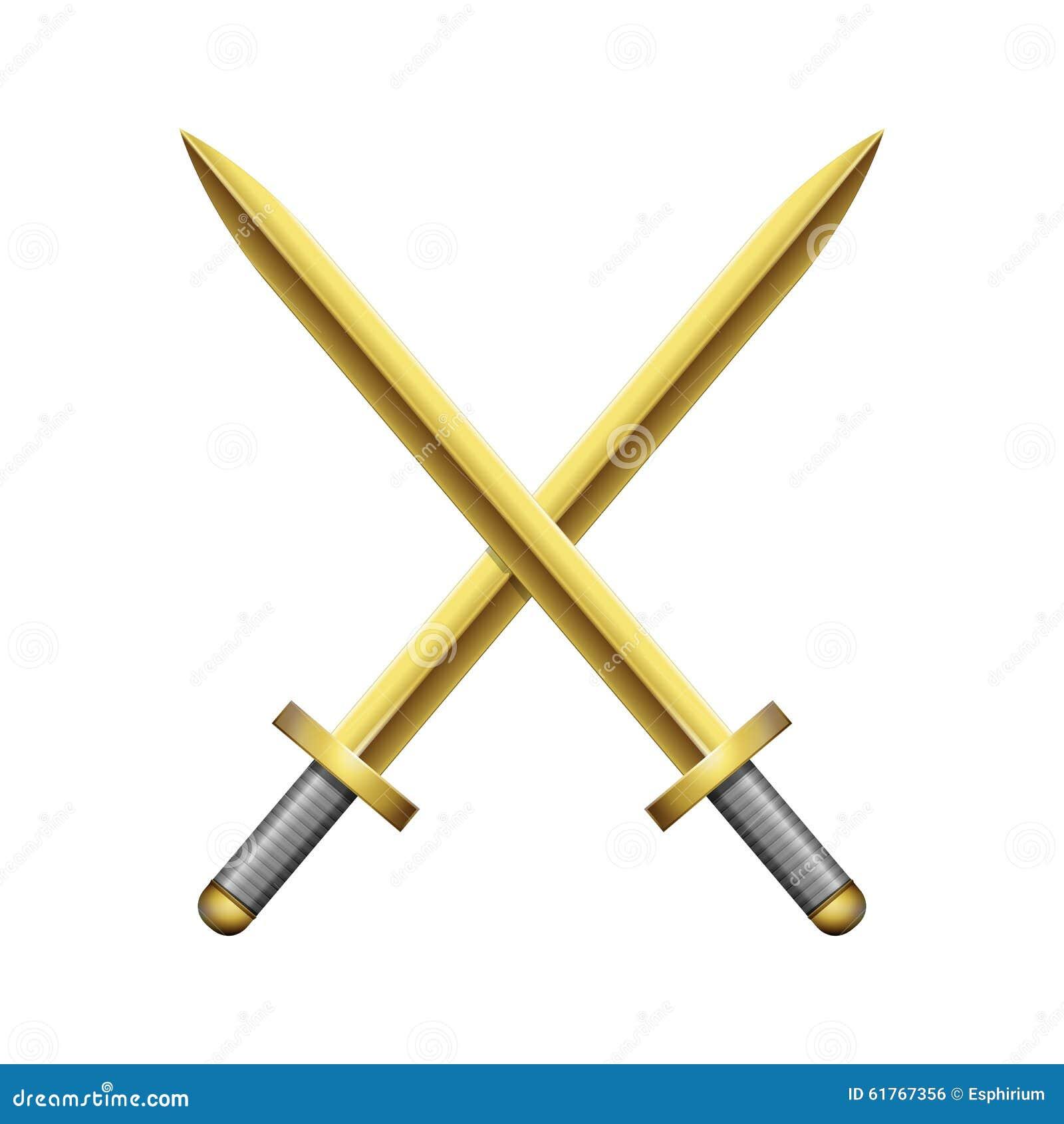 Two Crossed Golden Swords Stock Vector - Image: 61767356