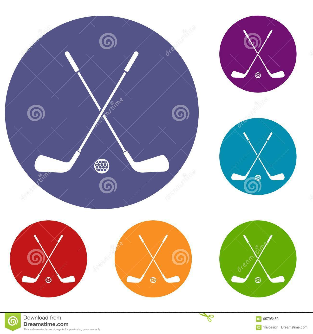 Two Crossed Golf Clubs And Ball Icons Set Stock Vector ... on golf t-shirt logo design, baseball skull tattoo design, golf club embroidery design,