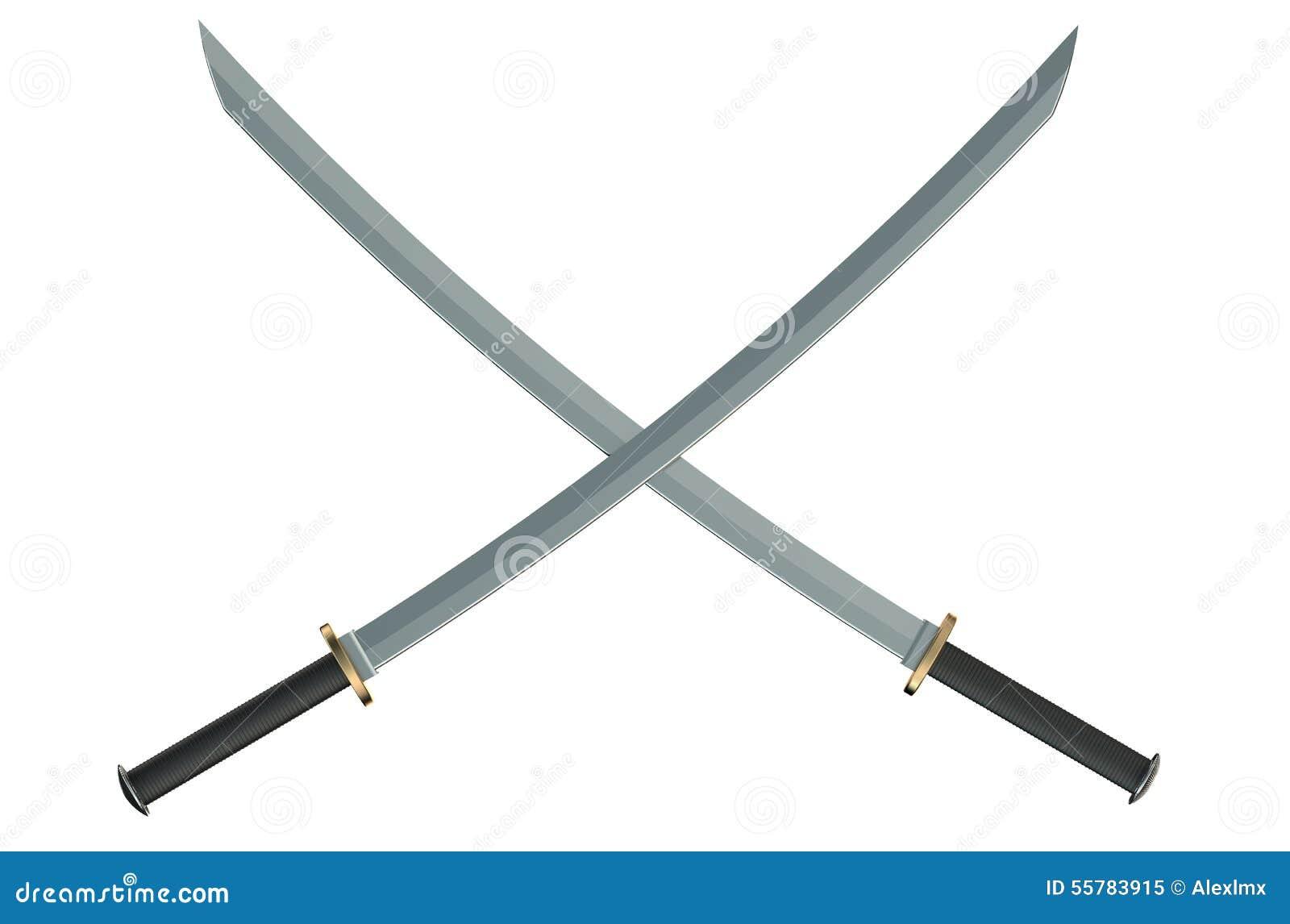 Two Crossed Japanese Samurai Katana Swords Stock Image ...