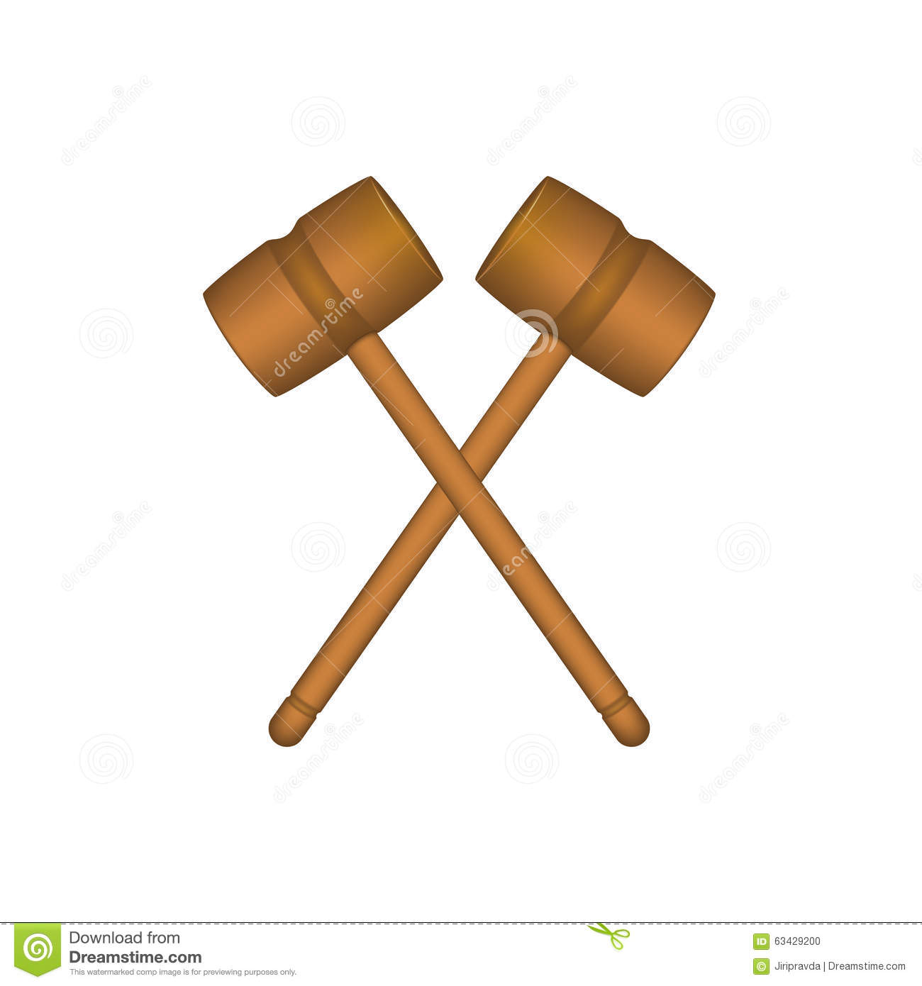 Two Crossed Wooden Mallets In Brown Design Stock Vector