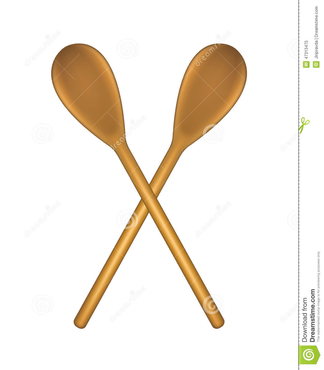 Two Crossed Wooden Spoons Stock Vector - Image: 47313475