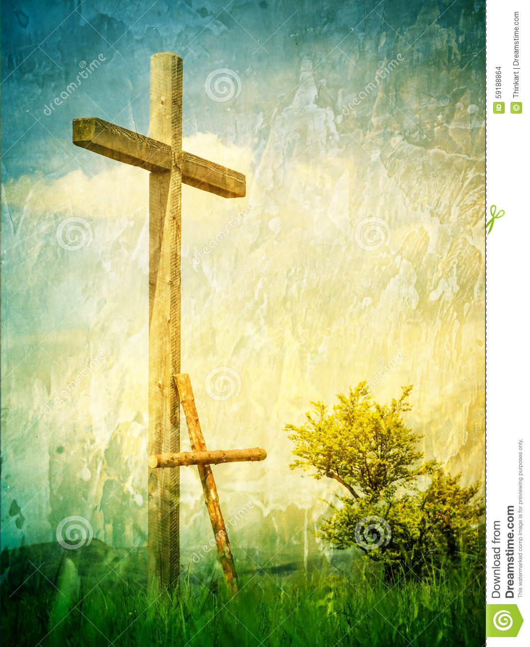 two crosses a symbol of following jesus christ stock photo