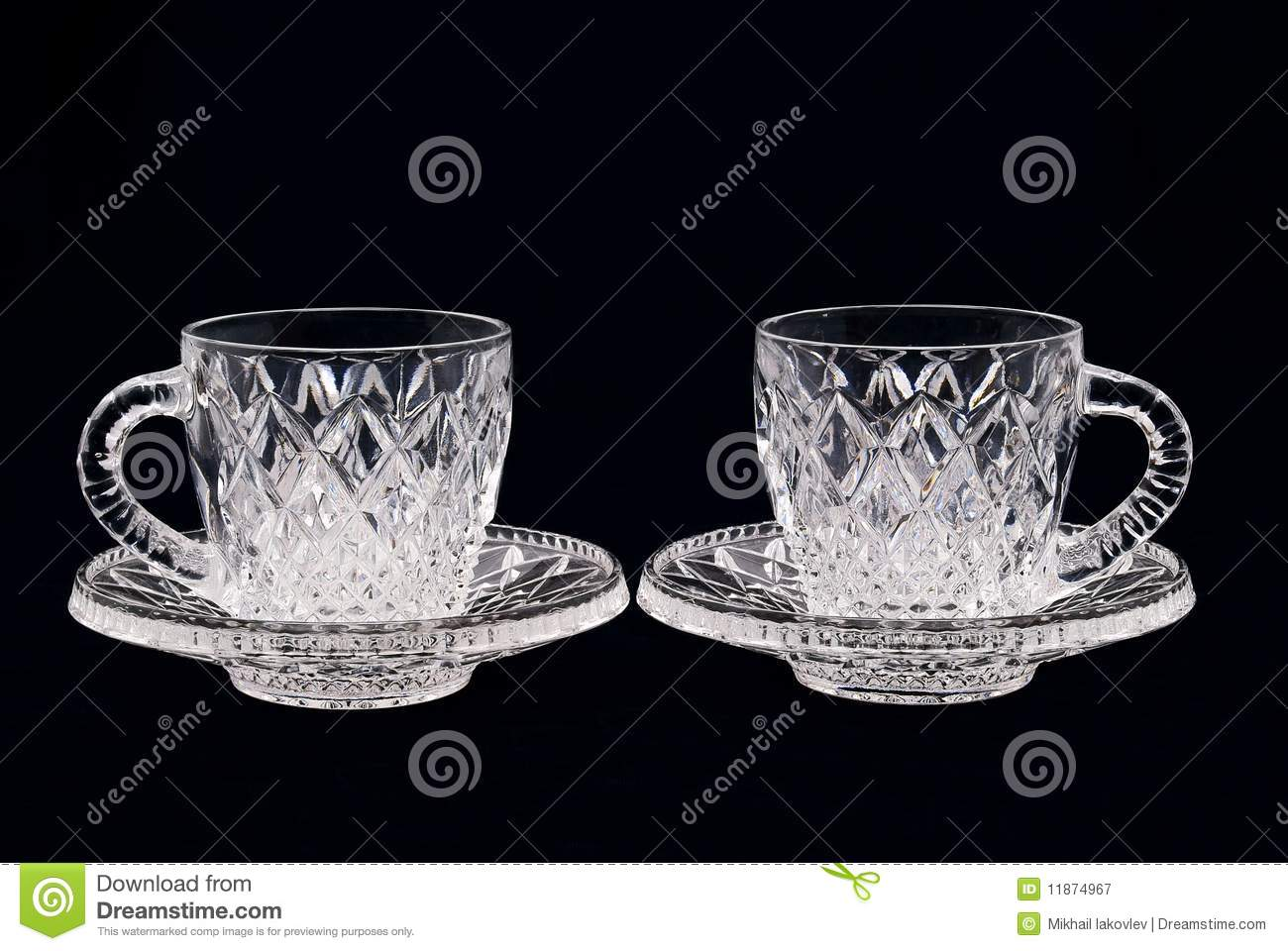 Two Crystal Cups On A Black Background Stock Image Image