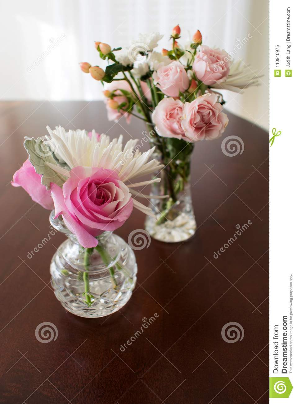 Dreamstime.com & Two Crystal Vases With Roses And Miniature Flowers Stock Image ...