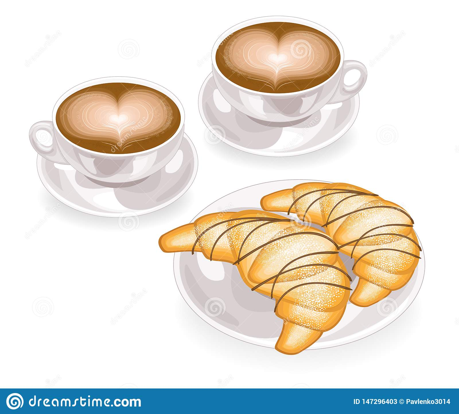 Two cups of coffee with foam in the shape of heart and fresh croissant on a plate with chocolate. Classic French breakfast. Vector