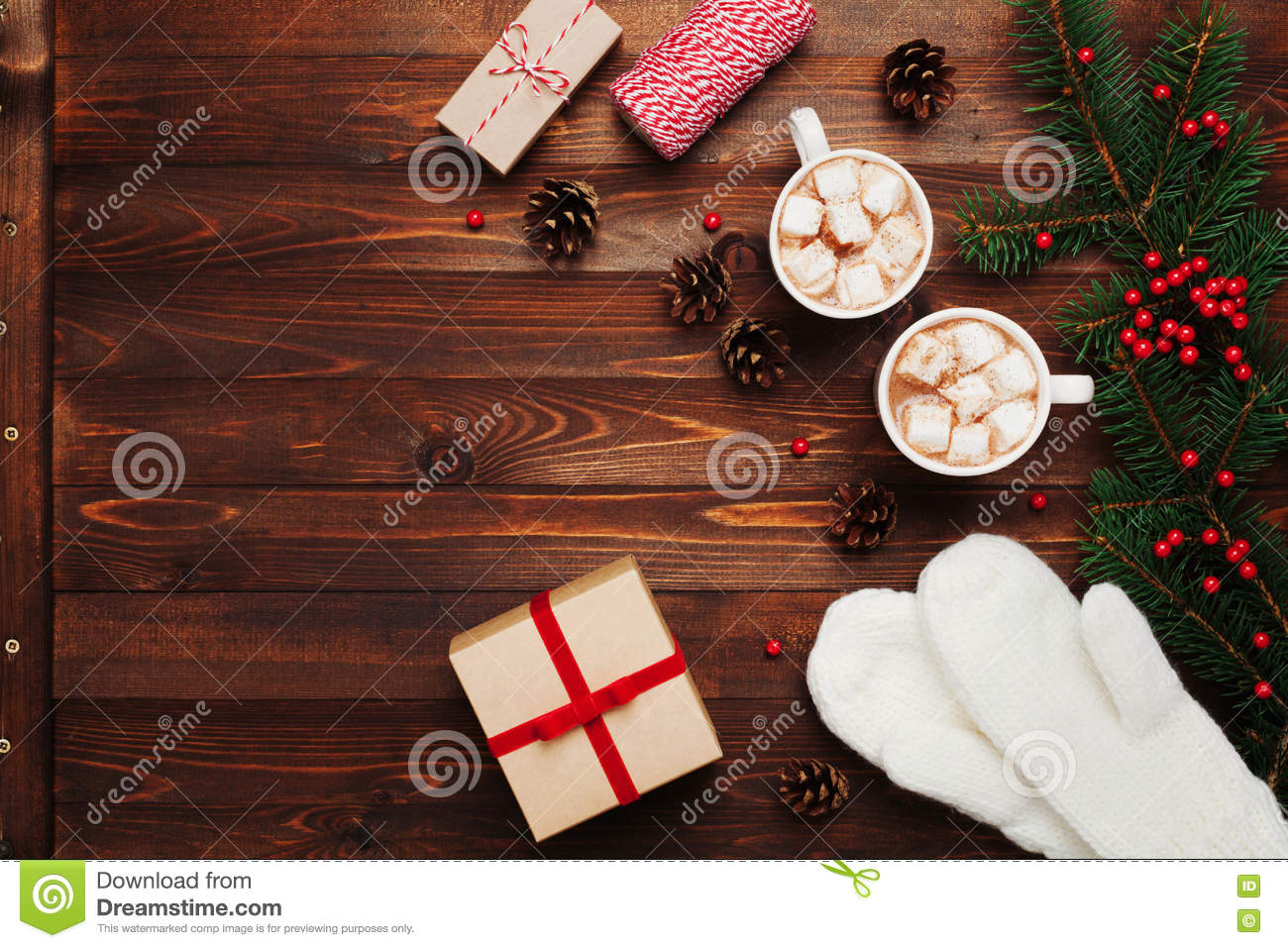 Two Cups Of Hot Cocoa Or Chocolate With Marshmallow, Gifts, Mittens ...