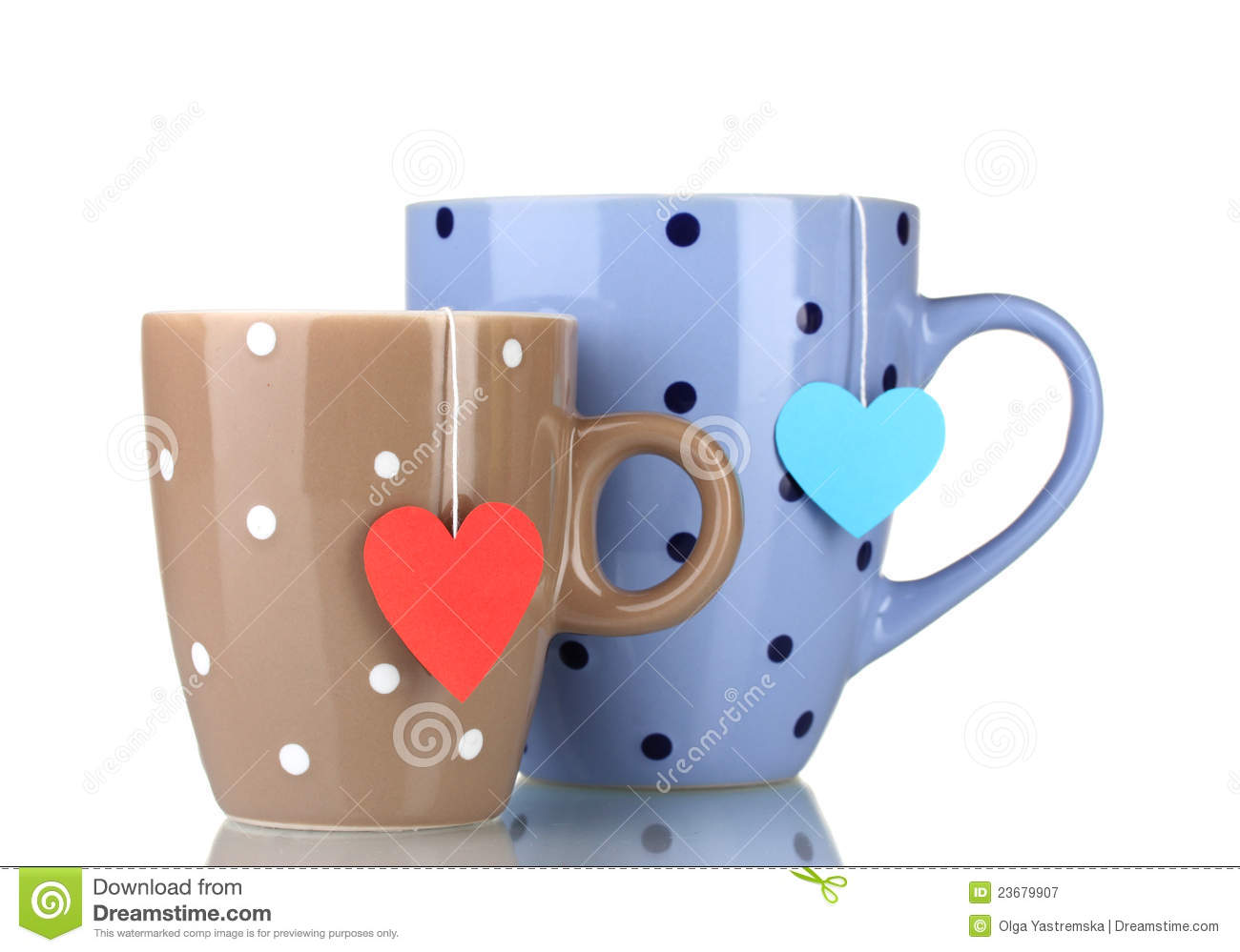 Download Two cups and tea bags stock image. Image of blue, china - 23679907