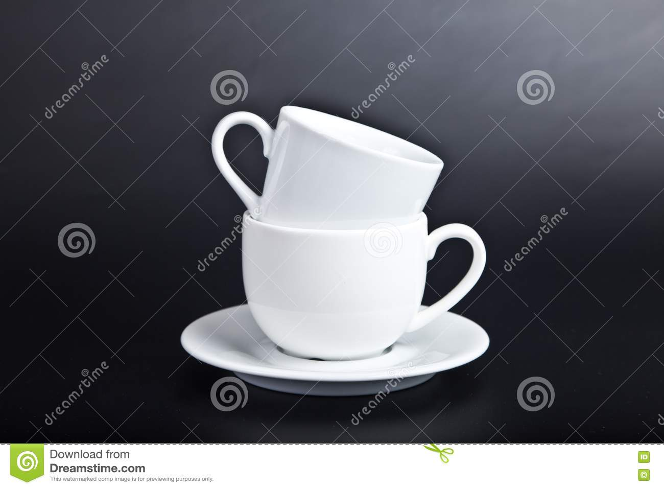 Two cups of white on black