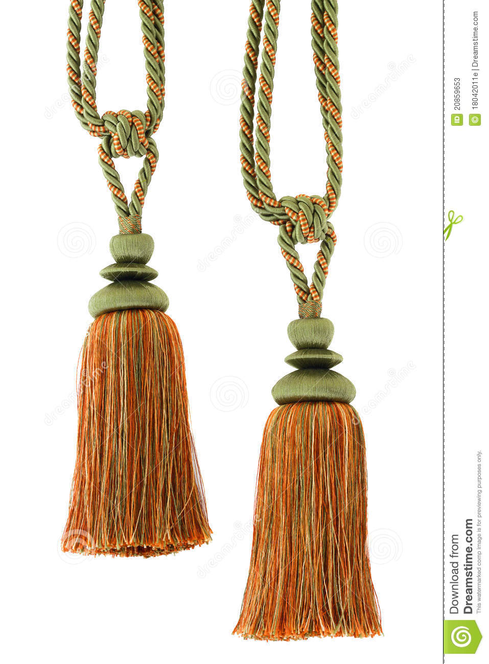 Two Curtain Cord Tassels Isoated Stock Photos Image