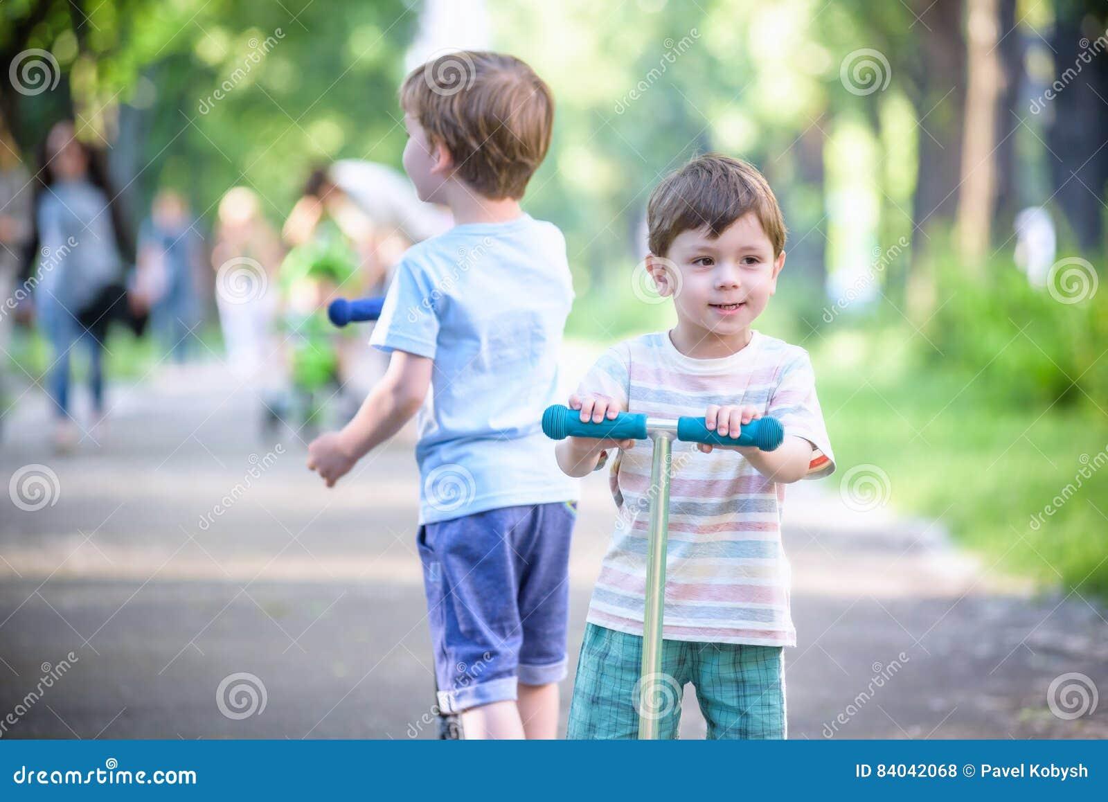two cute guys walking around