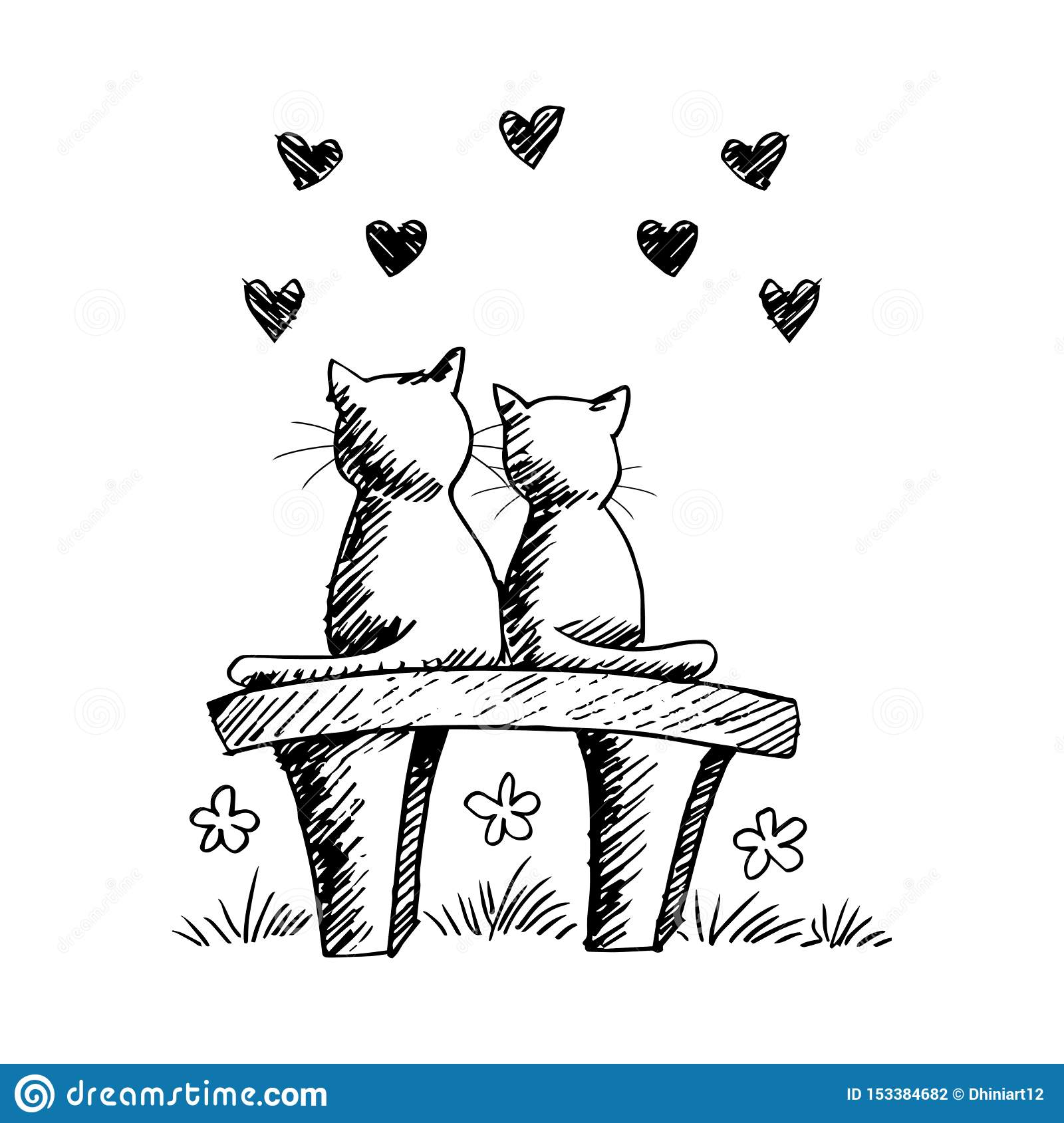 Two Cute Cats In Love Stock Vector Illustration Of Doodle 153384682