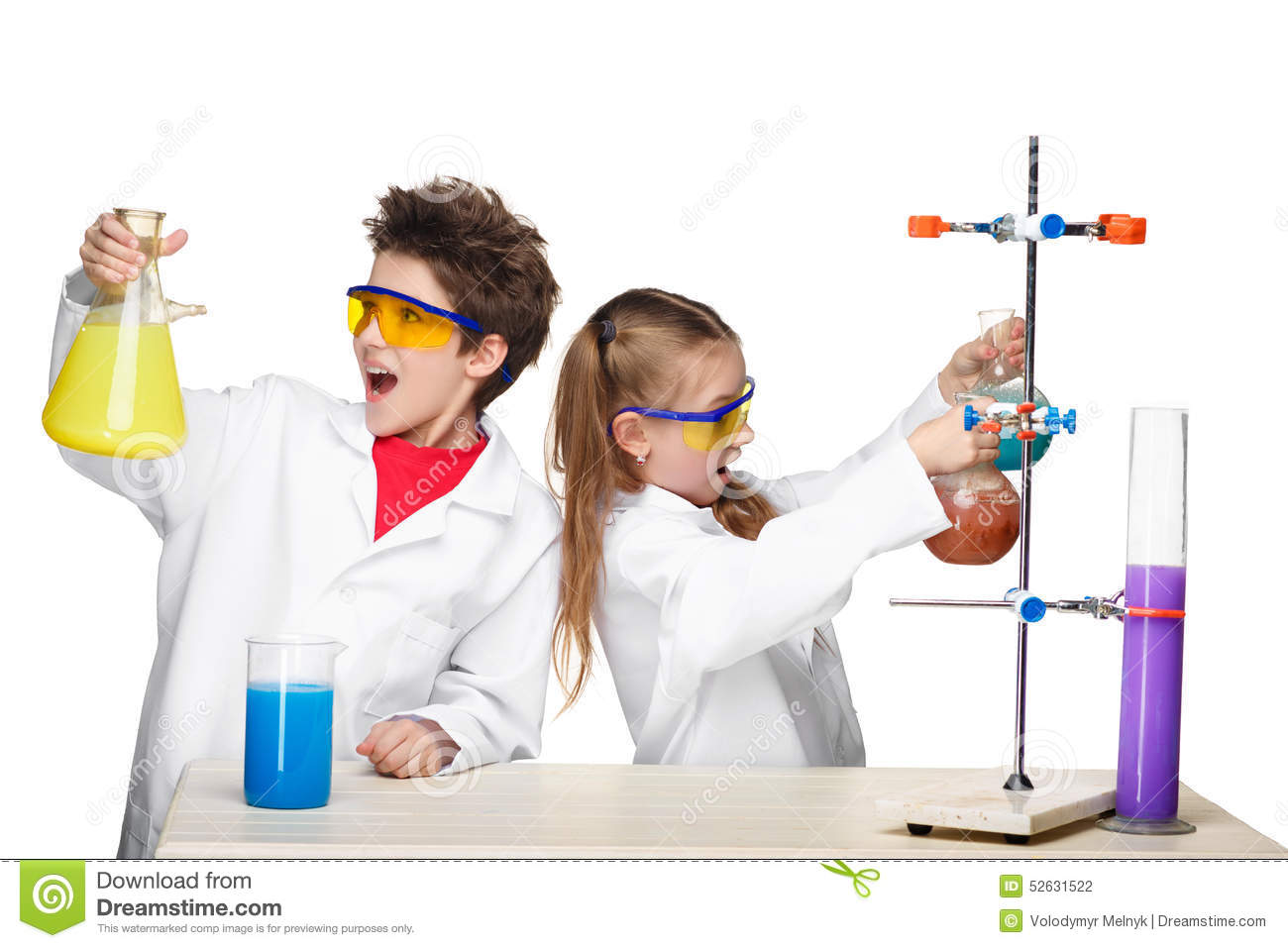 Two Cute Children At Chemistry Lesson Making Stock Photo ...