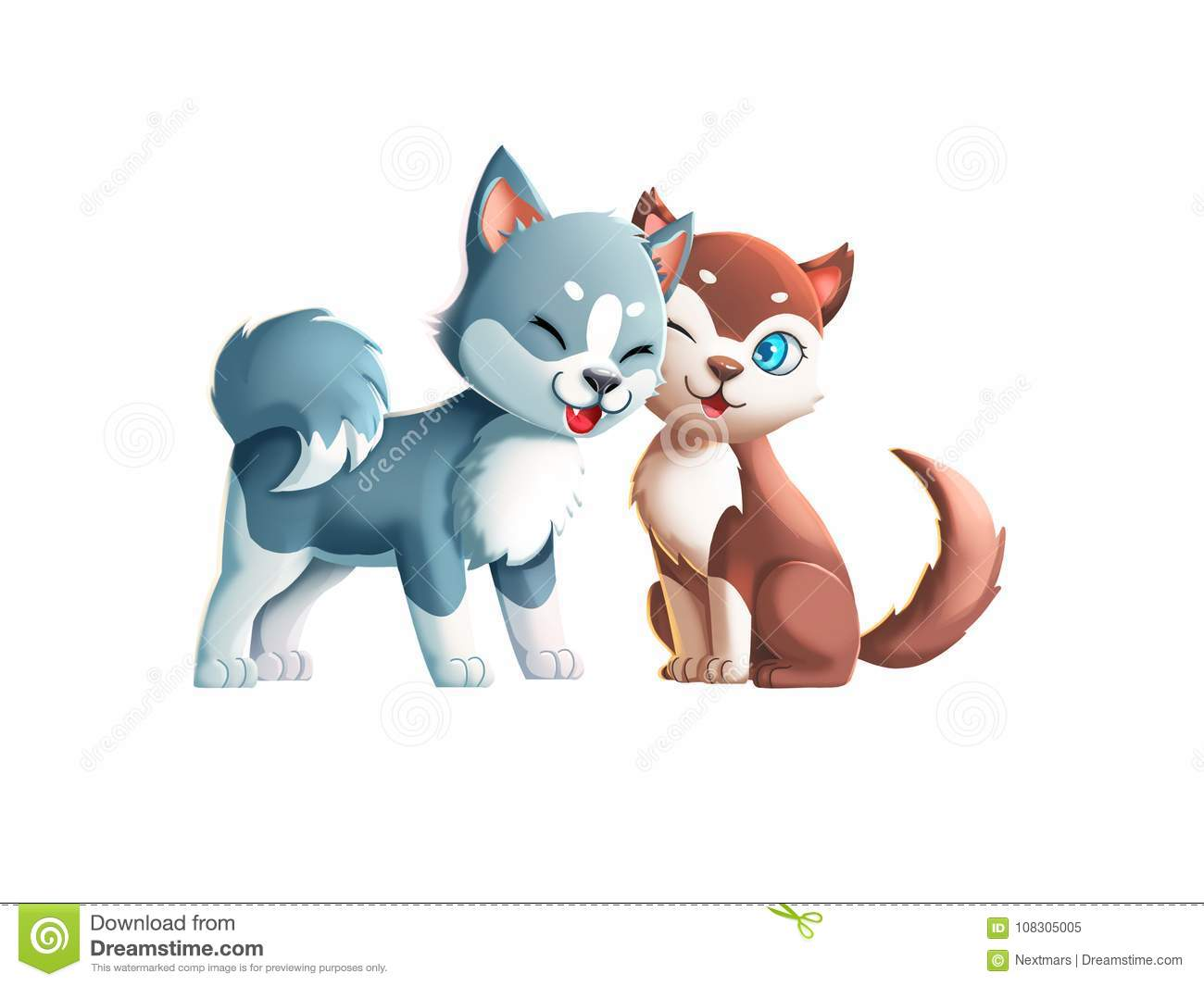 two cute dogs kissing couple stock illustration illustration of