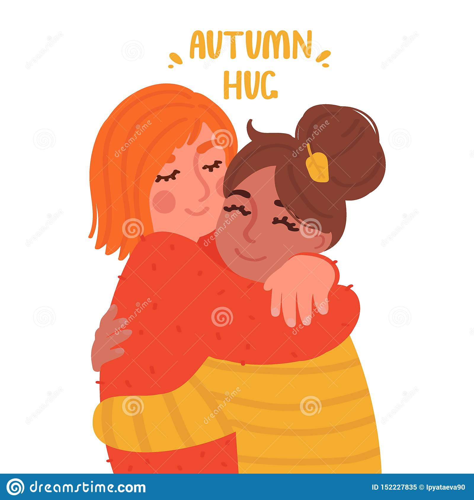 Two Cute Girls Hugging Cartoon Style Characters Vector Illustration Stock Vector Illustration Of Multicolor Equality 152227835