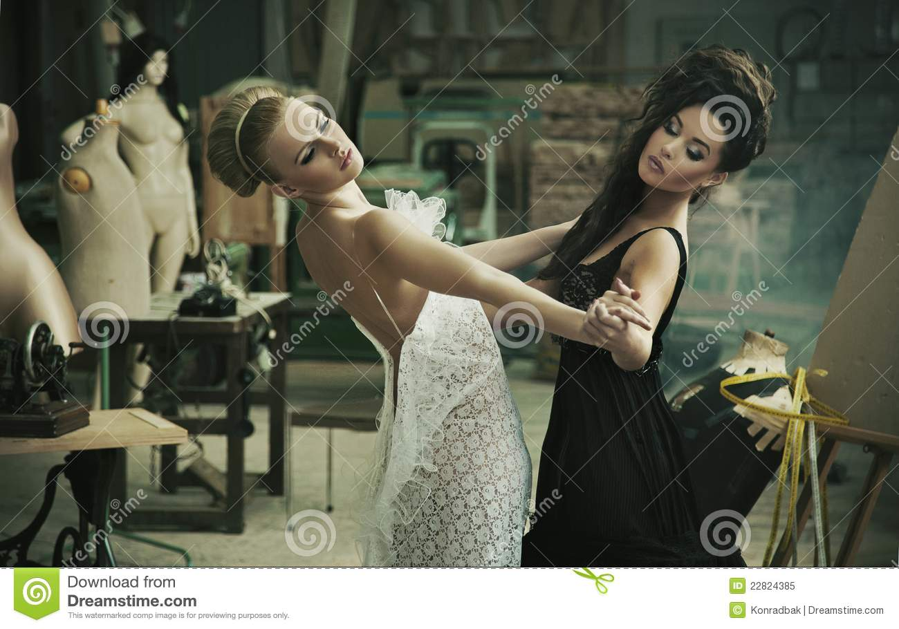two cute ladies dancing stock image. image of brunette - 22824385