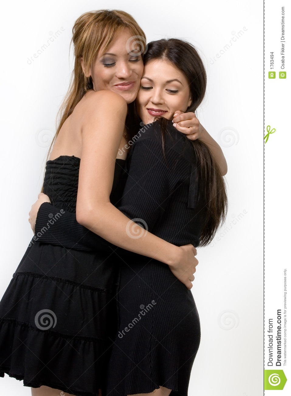 two cute ladies hugging stock photo. image of lady, friendly - 1763494