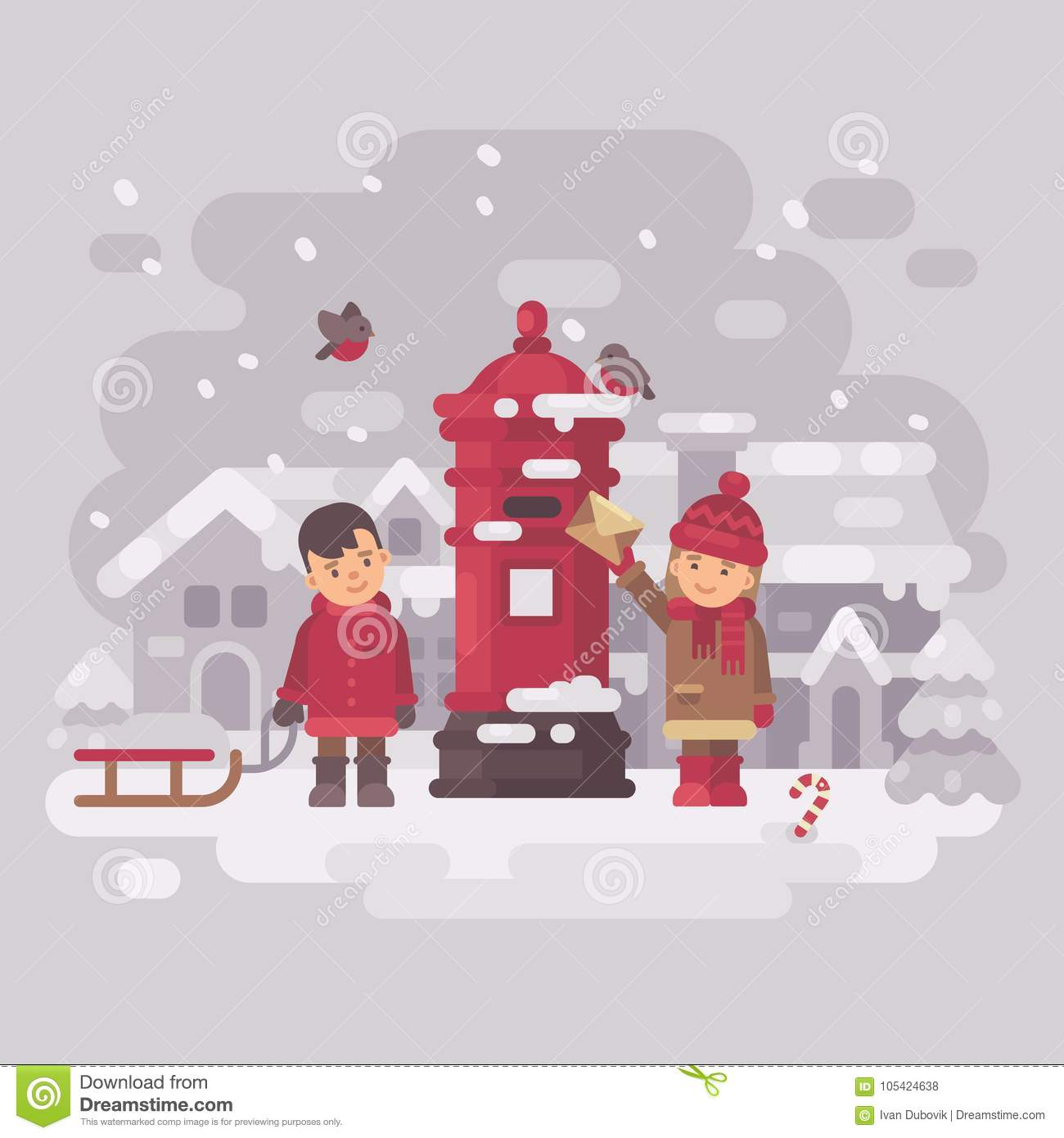 Two Cute Little Children Sending A Letter To Santa Claus Stock