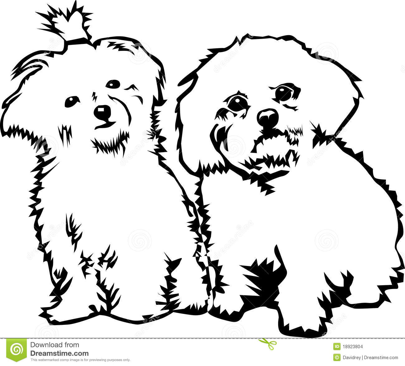 Two Cute Little Dogs Stock Illustration Illustration Of