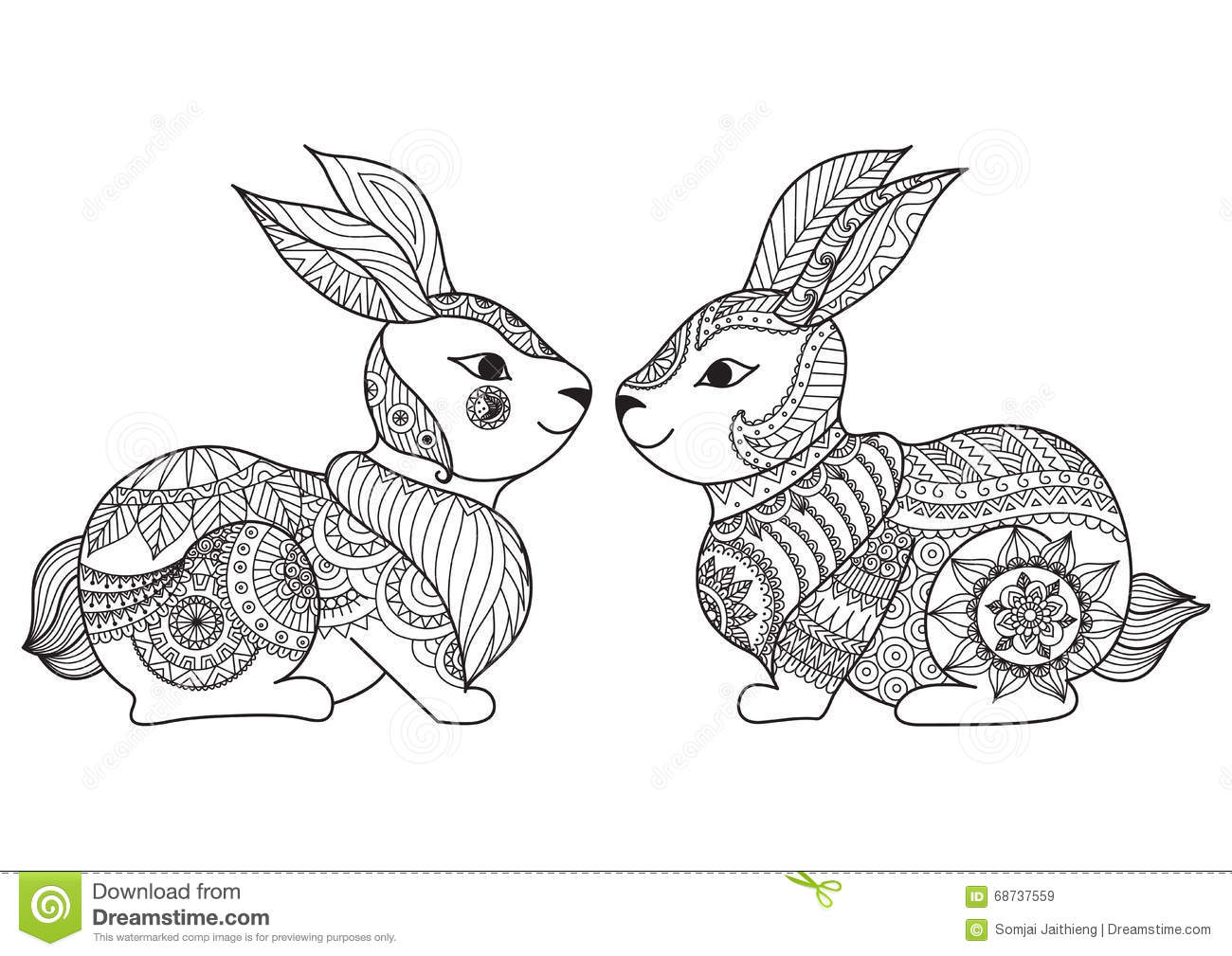 Line Art Card Design : Two cute little rabbit line art design for coloring book