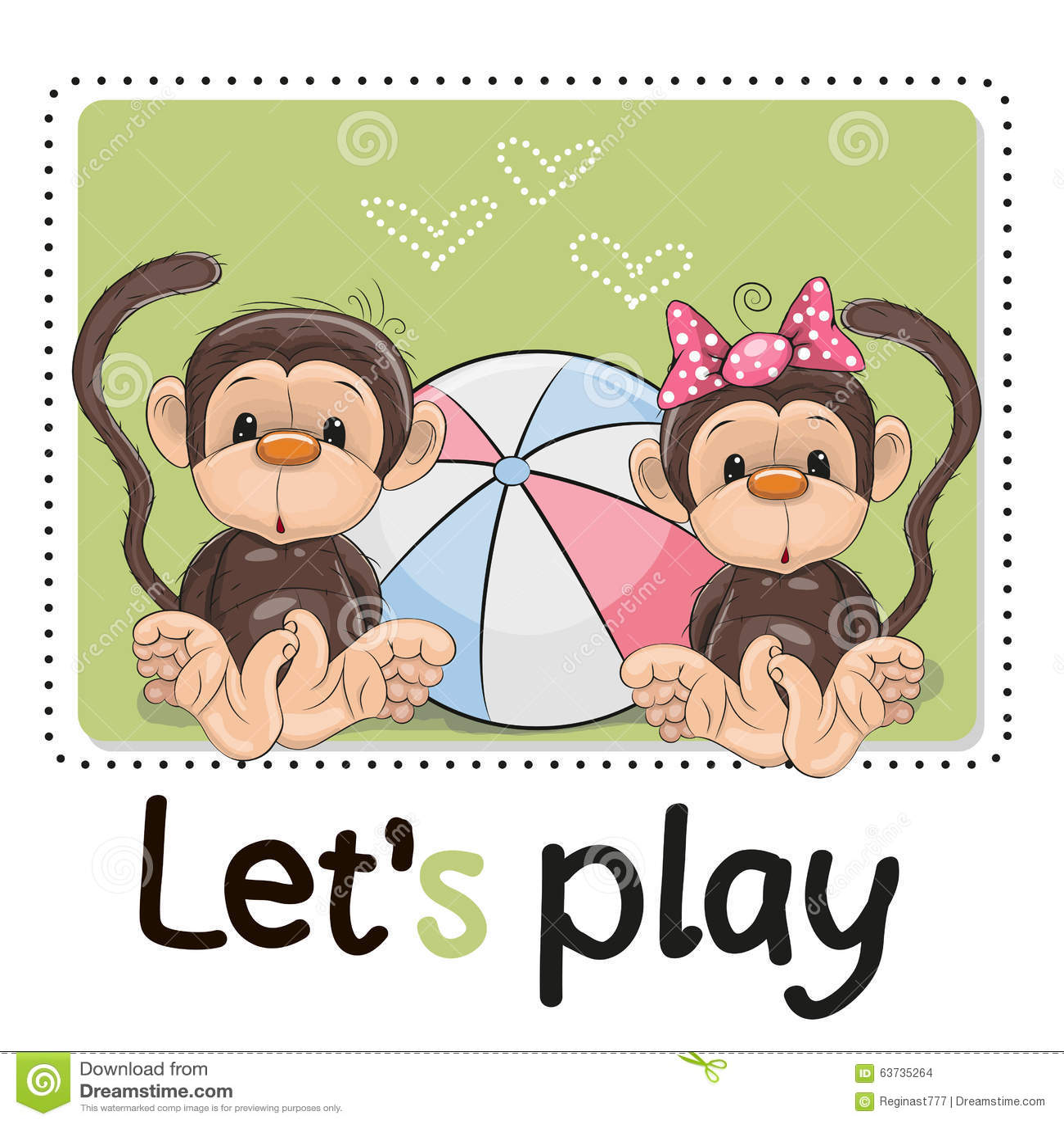 Two Cute Monkeys Stock Vector - Image: 63735264