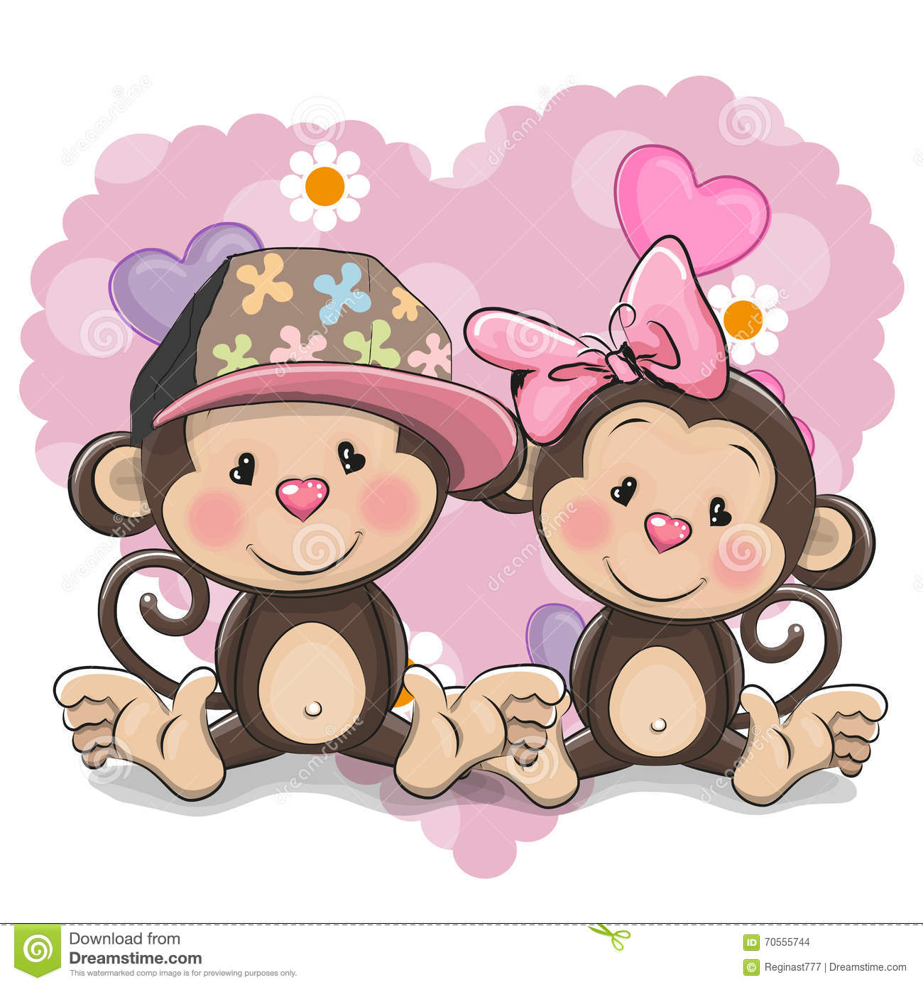 Two Cute Monkeys Stock Vector Image 70555744