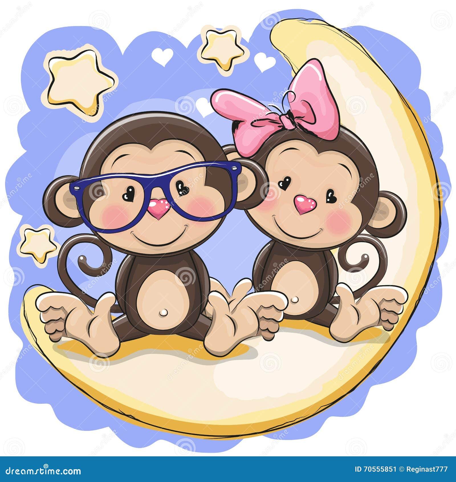 Two Cute Monkeys On The Moon Stock Vector - Illustration ...