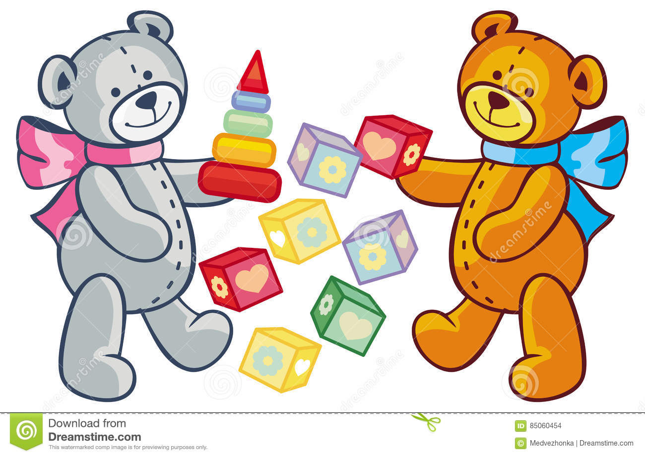 two cute teddy bears children toys raster clip art stock rh dreamstime com clipart teddy bears clip art teddy bear knitting