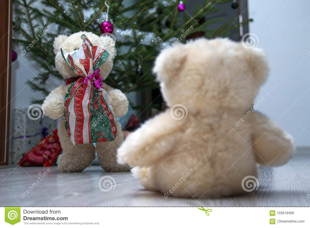 2c94c69263 Two cute teddy bears are sitting by the Christmas tree. One is holding the  Christmas gift and giving it to the other one.