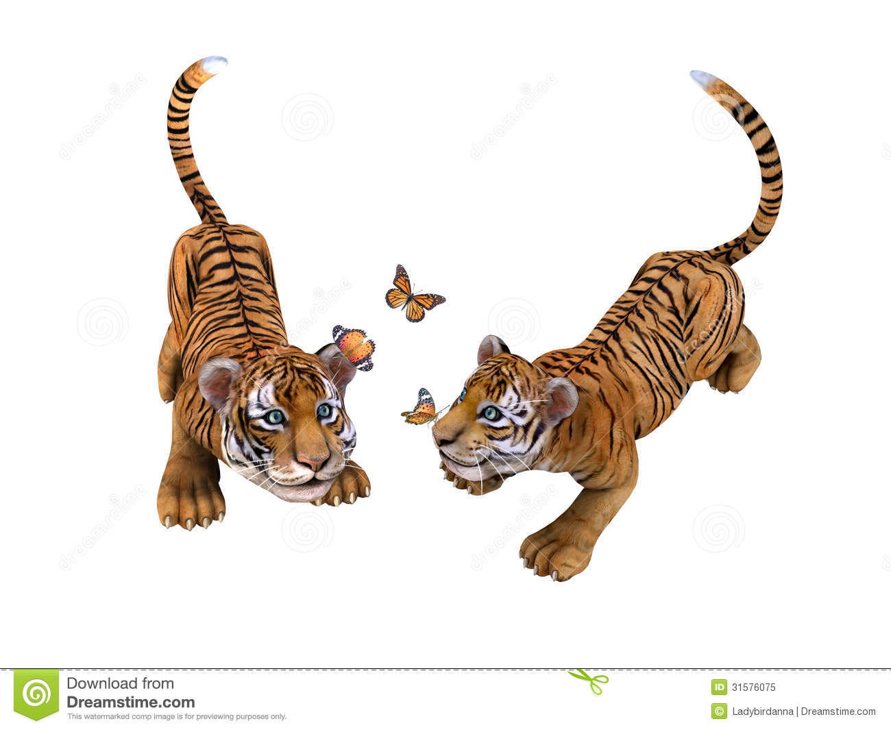 Two Cute Tiger Cubs Playing With Butterflies Stock ...
