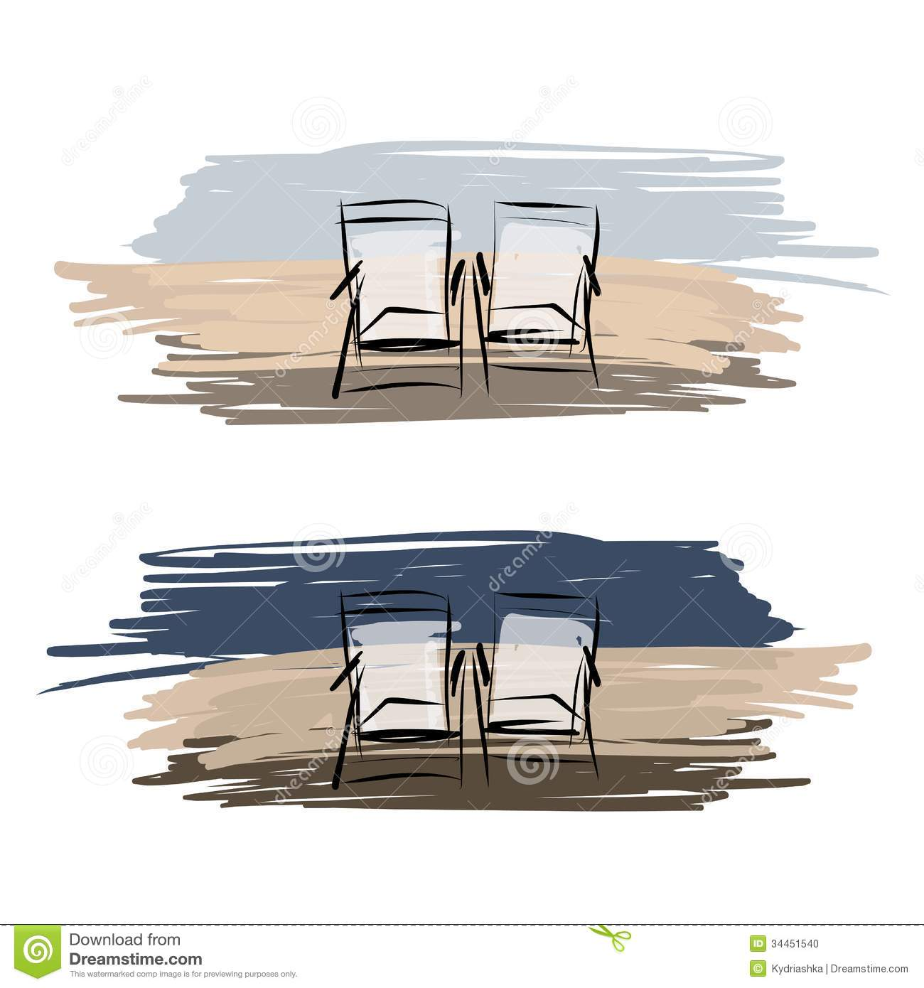 Two Deck Chairs On The Beach, Sketch For Your Stock Photo ...