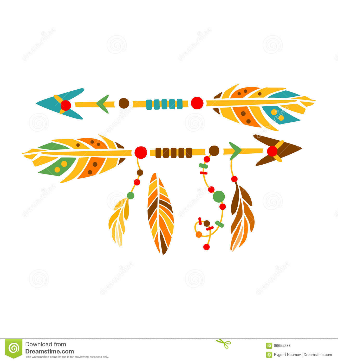 Two Decorative Arrows With Feathers Native Indian Culture Inspired Boho Ethnic Style Print Stock Vector Illustration Of Concept Printable 86655233