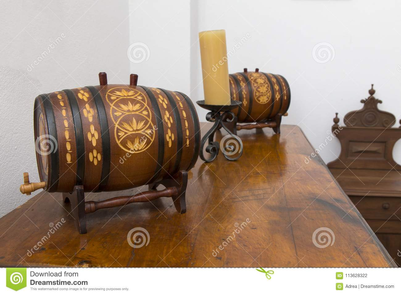Two Decorative Wine Barrels On A Shelf Stock Photo Image