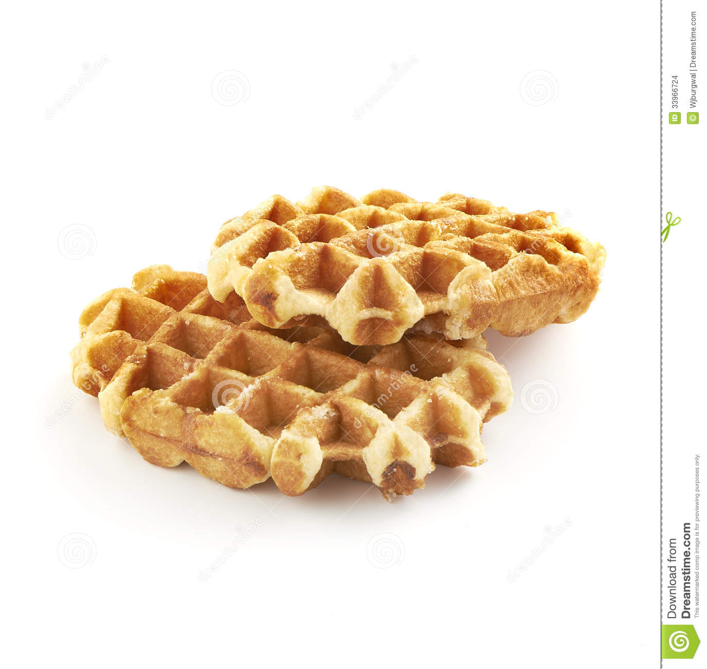 Two tasty fresh and unhealthy belgian sugar waffles isolated on a ...