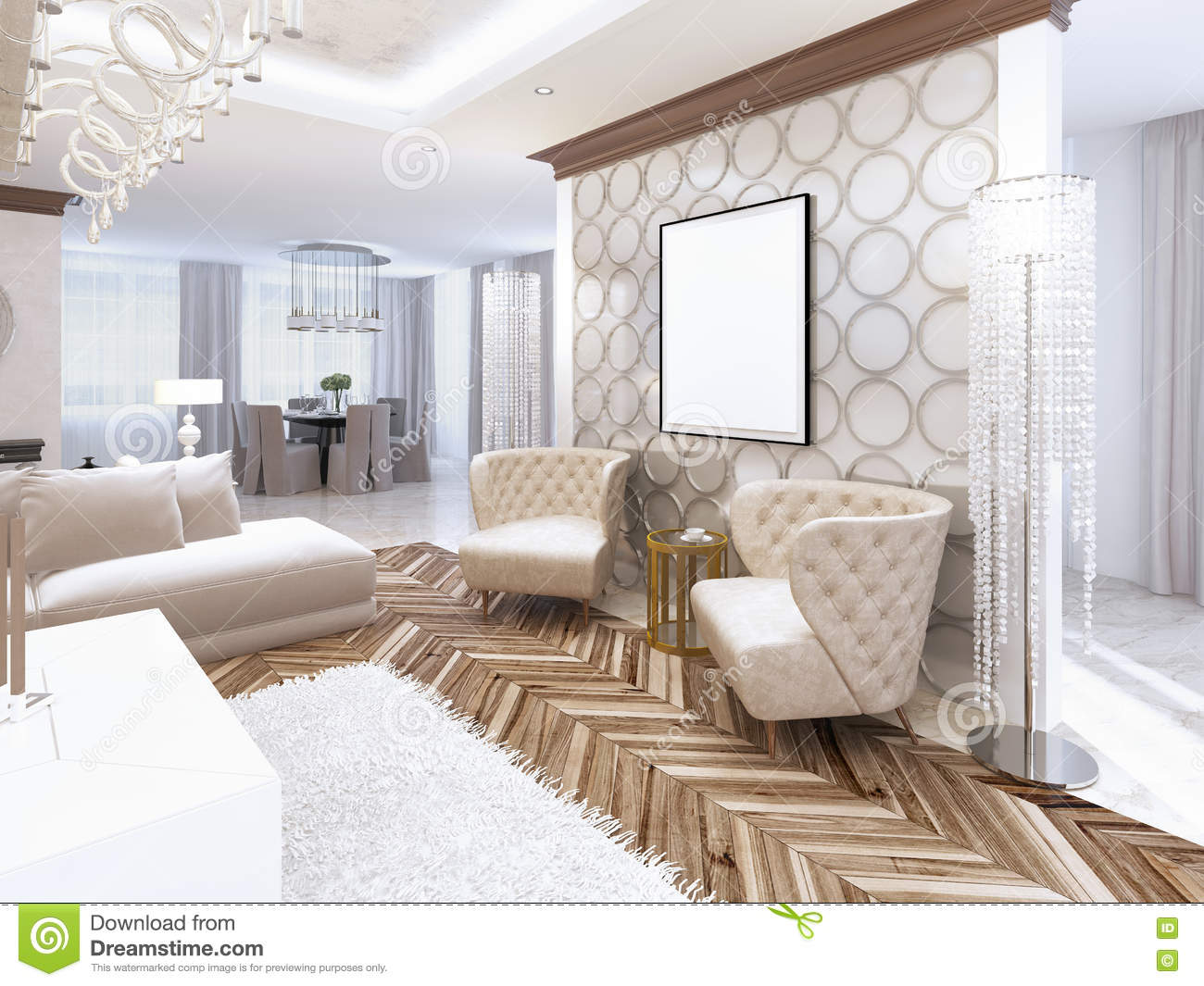 Picture of: Two Designer Leather Armchairs In Living Room Art Deco Stock Illustration Illustration Of Luxury Interior 79502791