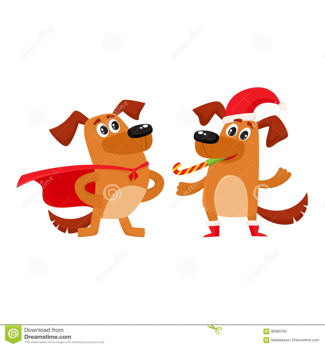 Two Dog Characters, Christmas Hat, Superhero Cape Stock