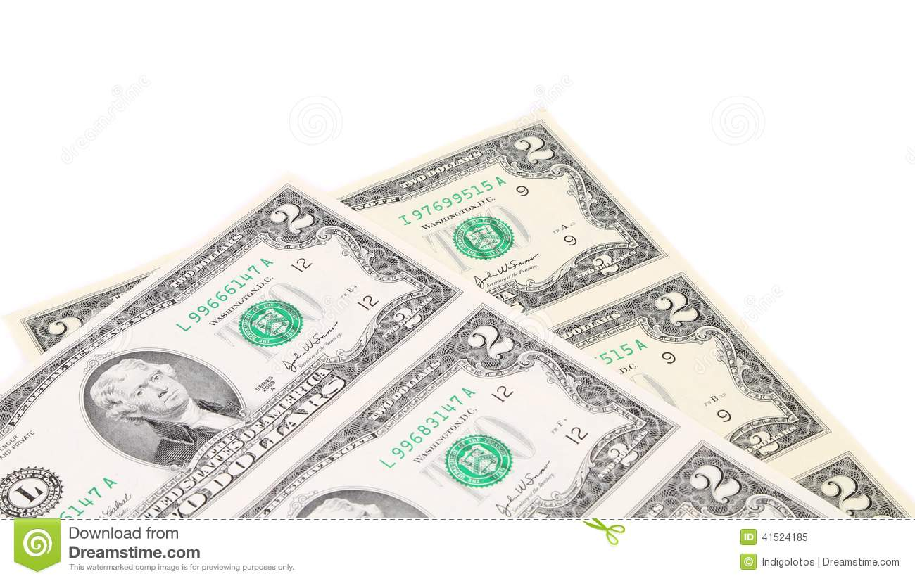 Two-dollar bills. There is white space for text.